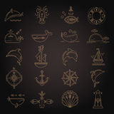 Nautical icon set, minimalistic flat design with thin strokes Royalty Free Stock Image