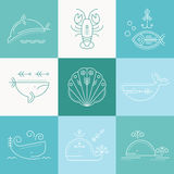 Nautical icon set, minimalistic flat design with thin strokes Stock Photography