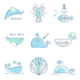 Nautical icon set, minimalistic flat design with thin strokes Stock Photography