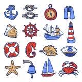 Nautical Icon Set Stock Photo