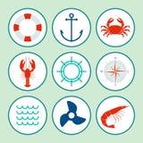 Nautical icon set Royalty Free Stock Photography
