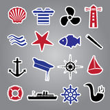 Nautical icon stickers collection eps10 Royalty Free Stock Image