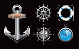 Nautical icons on black background Royalty Free Stock Photos