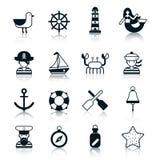 Nautical Icons Black. Set with seagull wheel lighthouse marmaid isolated vector illustration Royalty Free Stock Image