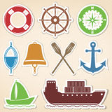 Nautical Icons. Colored stickers style Stock Photo