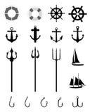 Nautical Icons isolated Royalty Free Stock Photos