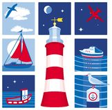 Nautical icons (Set 1). Illustration of icons for sailing, yachting, fishing and tourism Royalty Free Stock Photos