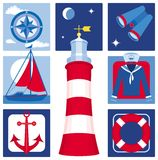Nautical icons (Set 2). Illustration of icons for sailing, yachting, fishing and tourism Royalty Free Stock Photography