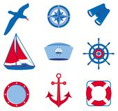 Nautical icons (Set 3). Illustration of icons for sailing, yachting, fishing and tourism Royalty Free Stock Photo