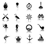 Nautical icons set black Royalty Free Stock Image