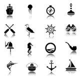 Nautical icons set black Royalty Free Stock Image