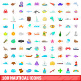 100 nautical icons set, cartoon style. 100 nautical icons set in cartoon style for any design vector illustration Royalty Free Stock Photos