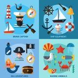 Nautical Icons Set Stock Photography