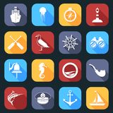 Nautical Icons Set Flat Royalty Free Stock Photo