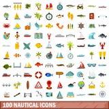 100 nautical icons set, flat style. 100 nautical icons set in flat style for any design illustration royalty free illustration