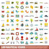 100 nautical icons set, flat style Stock Image