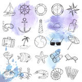 Nautical icons set. Stock Photo