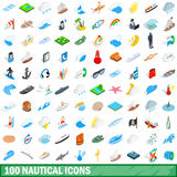 100 nautical icons set, isometric 3d style Stock Photography