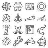Nautical icons set. Set of 16 nautical outline icons stock illustration