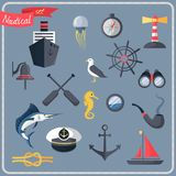 Nautical icons set Stock Images