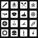 Nautical icons set squares vector Stock Image