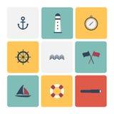 Nautical icons set. Royalty Free Stock Photo