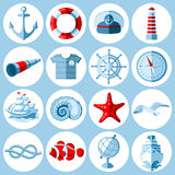 Nautical icons set Royalty Free Stock Images