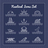 Nautical icons set Royalty Free Stock Image