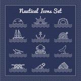 Nautical icons set Royalty Free Stock Image