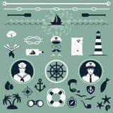 Nautical icons, vector illustration