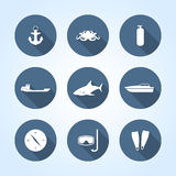 Nautical icons, vector illustration. Royalty Free Stock Photography