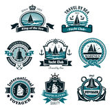 Nautical icons and vector marine symbols set. Nautical and marine icons set for yachting club or ship builders and seafarer heraldic badges. Vector isolated Stock Images