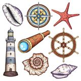 Nautical illustrations set. Hand drawn isolated vector drawings Stock Photo