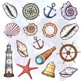 Nautical illustrations set. Royalty Free Stock Image