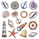 Nautical illustrations set. Hand drawn isolated vector drawings Royalty Free Stock Images