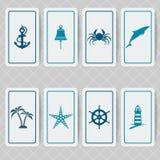 Nautical invitation card set Stock Photos