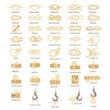 Nautical rope knots vector icon set. Nautical knot icon set. Sailing rope knots vector flat style design illustration isolated on white background royalty free illustration