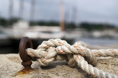 Nautical knotted rope Stock Photography