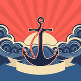 NAutical label with anchor and blue sea waves. Vector illustration for text Stock Image