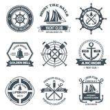 Nautical Label Black. Nautical label sea and ocean yacht journey black emblems set isolated vector illustration Stock Photos