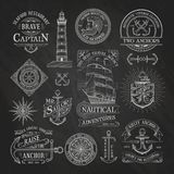 Nautical labels on chalkboard background Royalty Free Stock Image