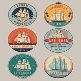 Nautical labels color Stock Photos
