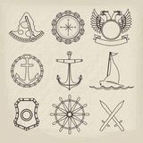 Nautical labels, icons and design elements Stock Images