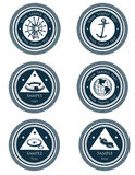 Nautical labels with marine symbols Stock Photos