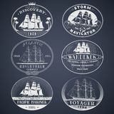 Nautical labels white Stock Image