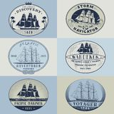 Nautical labelscolor1 Stock Images