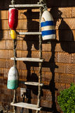 Nautical Ladder. Old rope ladder with bouy's Stock Images