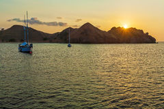 Nautical Landscape of Komodo Island with Boat Stock Photography