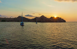 Nautical Landscape of Komodo Island with Boat Royalty Free Stock Image