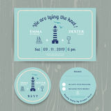 Nautical light house wedding invitation and RSVP card template set. On wood background Stock Photos
